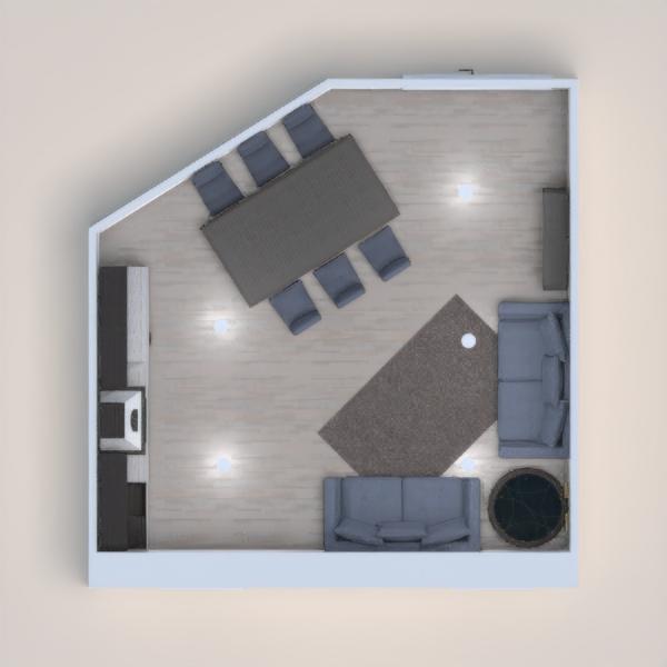 Sala y cocina con colores azules y muebles de madera