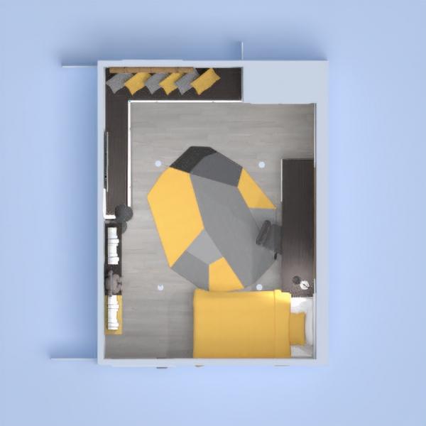 Habitación estilo industrial- Amarillo y gris