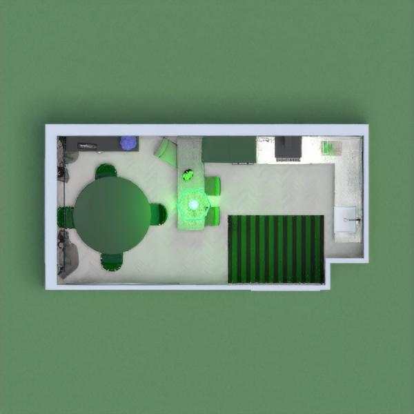 стильная зеленая кухня с серыми и пестрыми добавлениями.