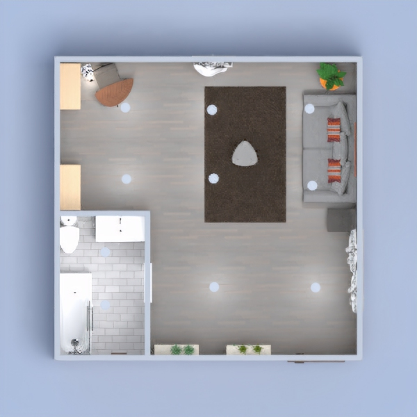 A sophisticated modern look on a living room with a luxurious bathroom as well.