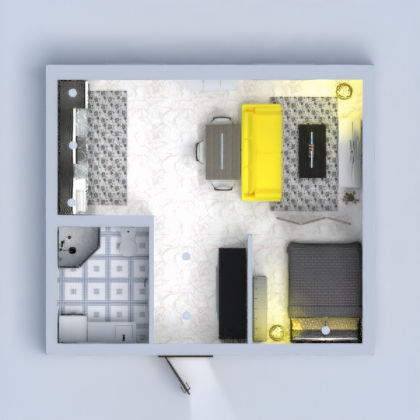 cozy house with pop of yellow