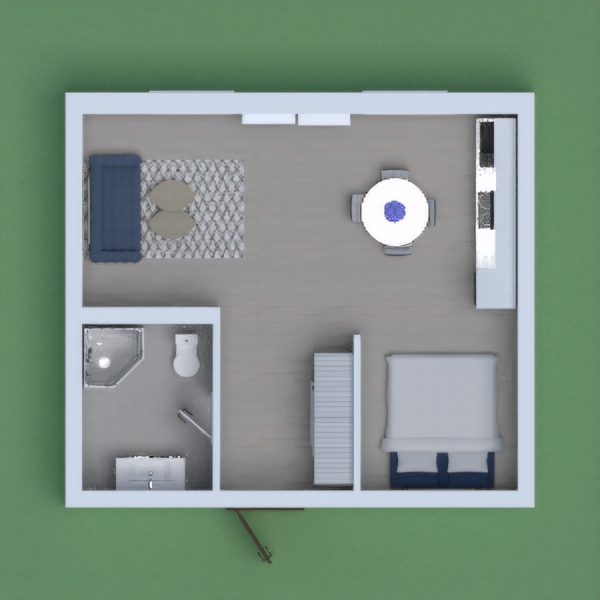 This is a small apartament: 1 Toilet, 1 Kitchen-Living Room, 1 Bedroom