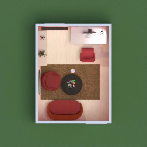 офис в контрастном красном цвете .