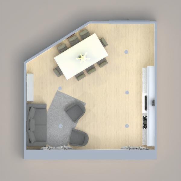 Sala y comedor gris y blanco