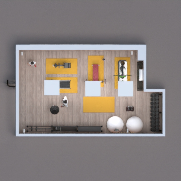 small academy lined with wood and with two pilates balls. the chosen wood, both on the wall and ceiling, aims to make the environment more cozy and rustic.