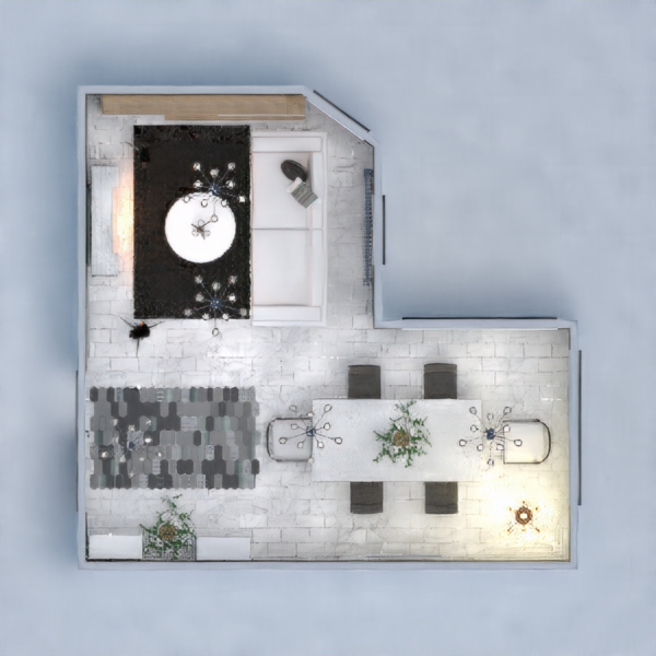 Living Room, I added a marble fire place to make the room feel a more modern vibe and a dark carpet to balance out the marble flooring, And lot's of storage. Dining Area, I added a big table for family get together's, Comfy chairs. Entry, comfy patterned carpet, storage and plants for a nice touch to the room.