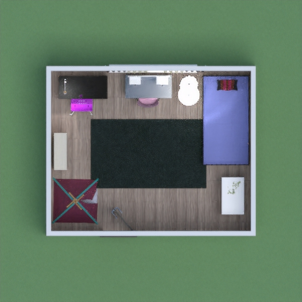 This is a girly bedroom, with a studying area a place to sleep!
