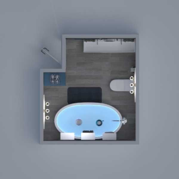 A white and blue modern bathroom.