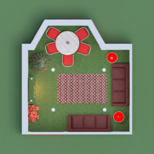 This is a very interesting christmas home. the green is grass. Vote for me if you want me to vote for you