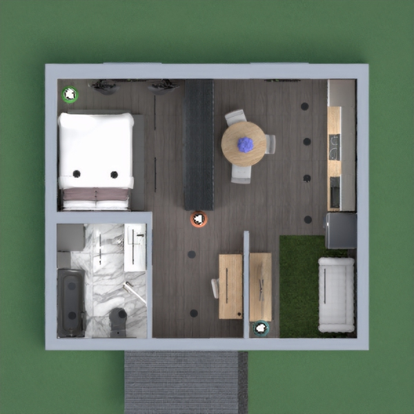 Modern loft styled apartment with natural accents.