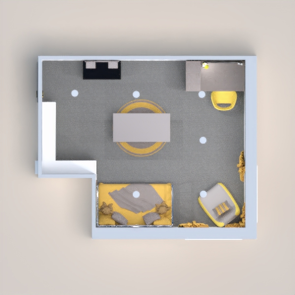 I went for a room that the child can grow into. So I went with a yellow and gray room like the thing said. The idea is that the child can start as a baby in this room and then as they grow they can have all they need to enjoy that room till they move out. I hope you like it, and please vote for me. And if you comment on my design I will always check your design out.