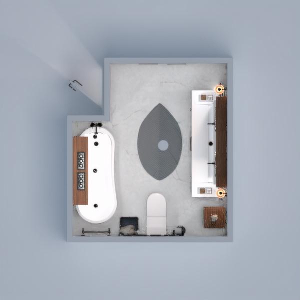 Blue industrial bathroom