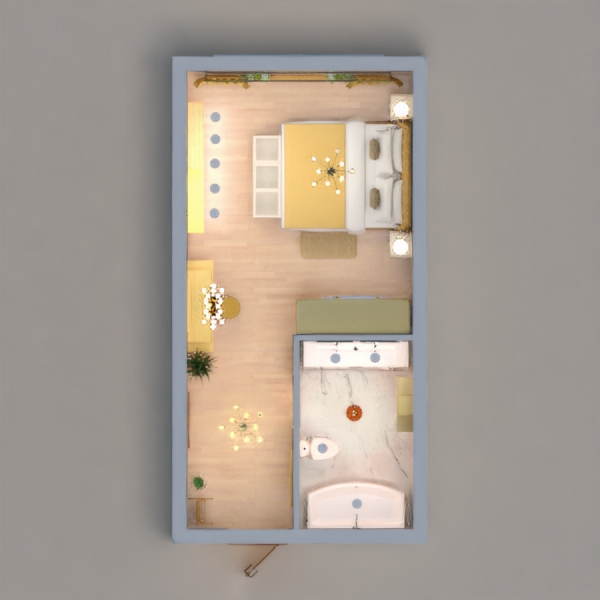 A bedroom with a white and gold shades. And I made a bathroom adjust to the main color. I hope you like it-!