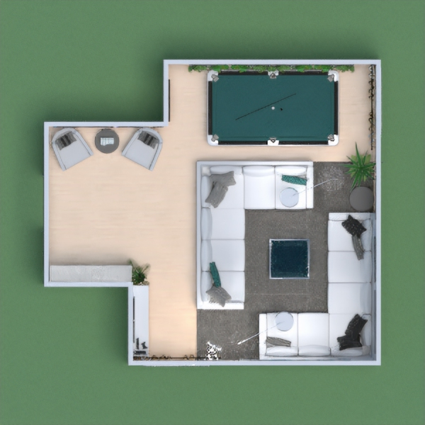 A cozy family/all-purpose room for social gathering and relaxation, with a minimalist vibe.
