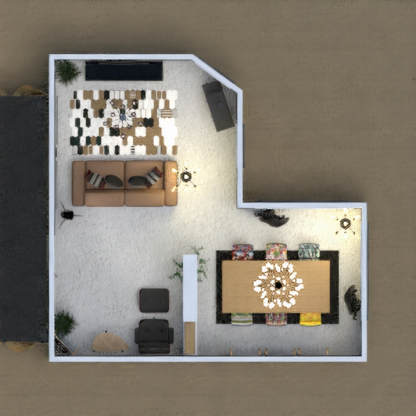 Living room with dining room. And the little terrace infront of house
