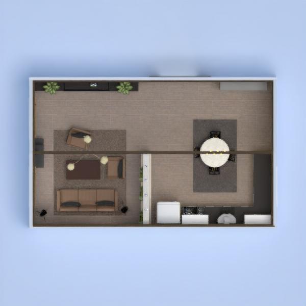 Проект гостиной и кухни--дерево бетон и металл