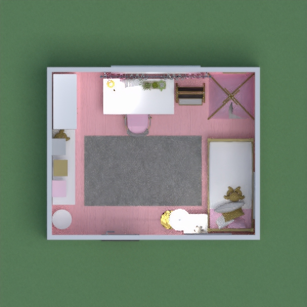 A modern girl's bedroom, with a space for sleeping, studying, and storing books and toys. It's colored with pinks, golds, grays, and whites, to make a gorgeous modern bedroom.