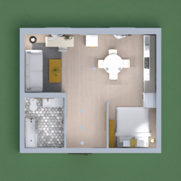 A completely furnished modern apartment, with a bedroom, kitchen, bathroom, and living room. There are nice paintings on the walls, nice plants for fresh air, and a clean, modern feeling throughout the flat.