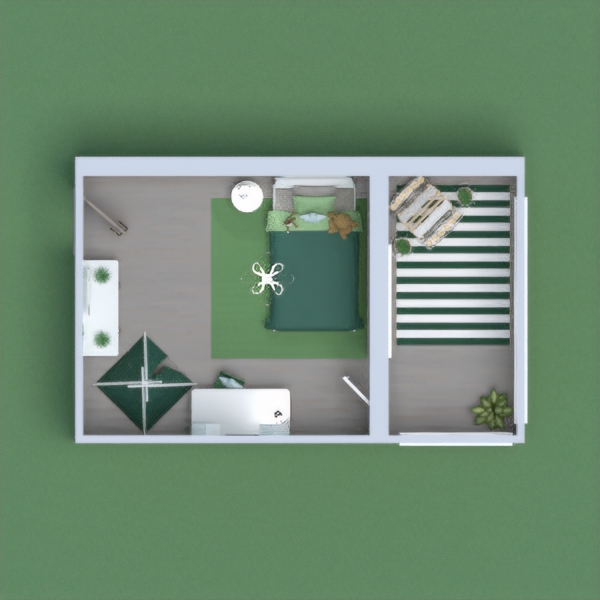 Nature themed room, for either a girl or a boy, with different shades of green and lots of toys and decoration to keep a child busy
