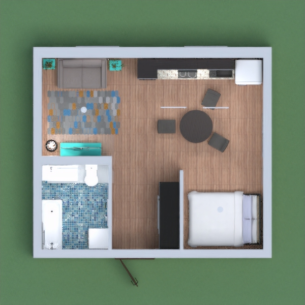 A cozy apartment with a mountain meural, has all the basic requirements for living. Please leave a vote if you like! commnt if you do and i will like yours!