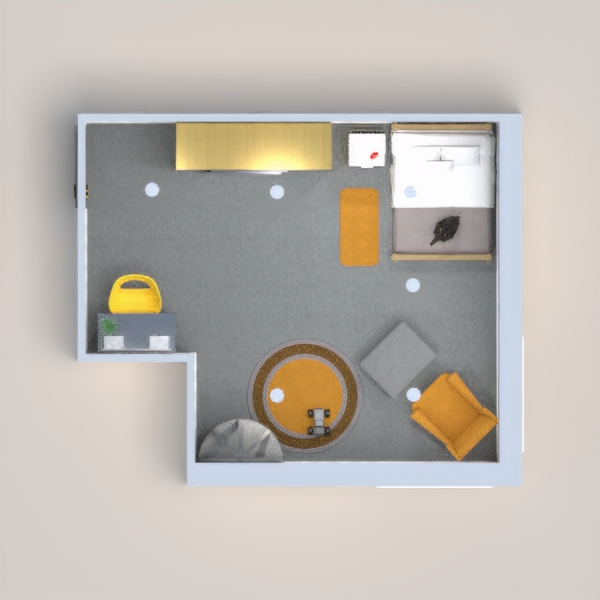 A very decorated children's room with gray and yellow as the main colors. There is a dressing area, sleeping area, and a resting/playing area in this room.
