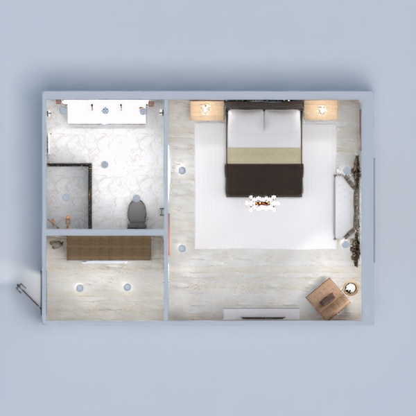 The bedroom is a mix between modern and old-school with a stunning bathroom