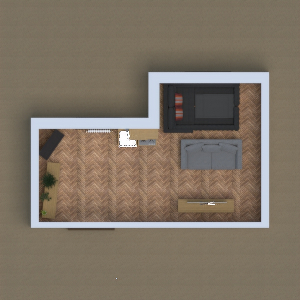 its a house with a place to put shose a living room and a bed
