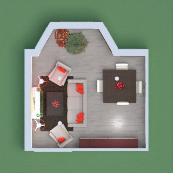 Simple living room with dining table and Christmas Decorations  Merry Christmas and have a happy New Year!!!