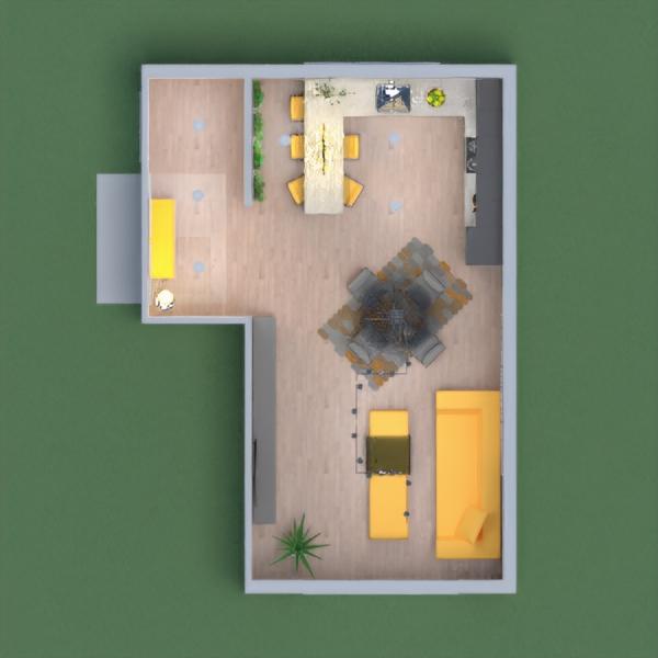 Living moderno industrial com toques de cinza, amarelo e preto