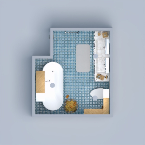 Modern Blue Bathroom with 3 types of tile.