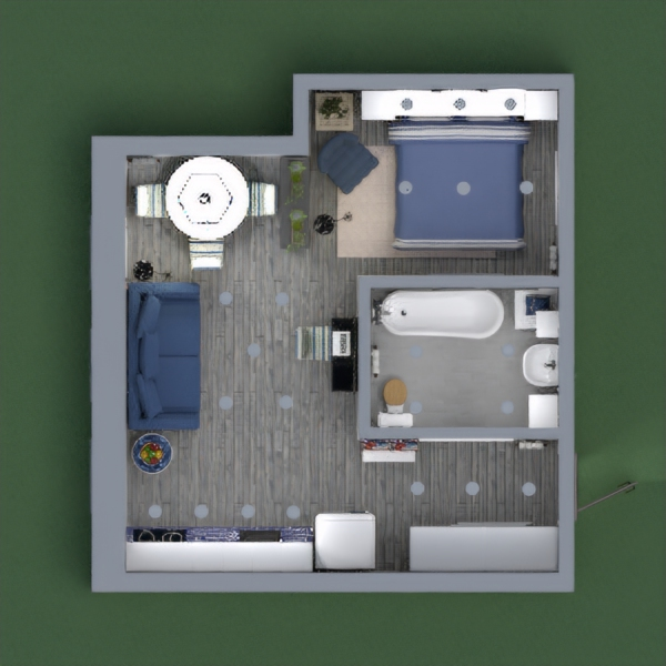It is a small industrial apartment with a marine theme. It was quite difficult to figure out how to arrange the different functions, but I hope you like it.