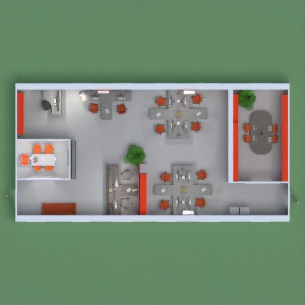 Oficina con acentos naranjos, comoda y con espacios amplios.