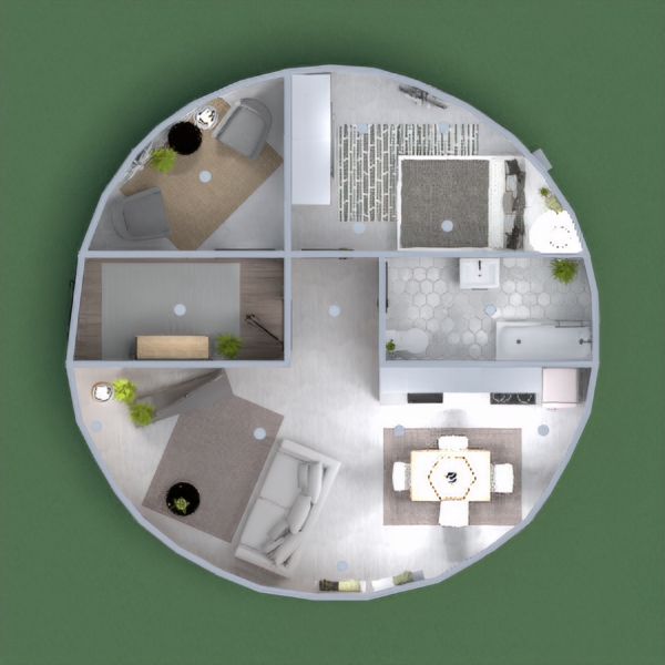 Minimal Modern Round House - Concrete heated floors with hard-wood interiors.