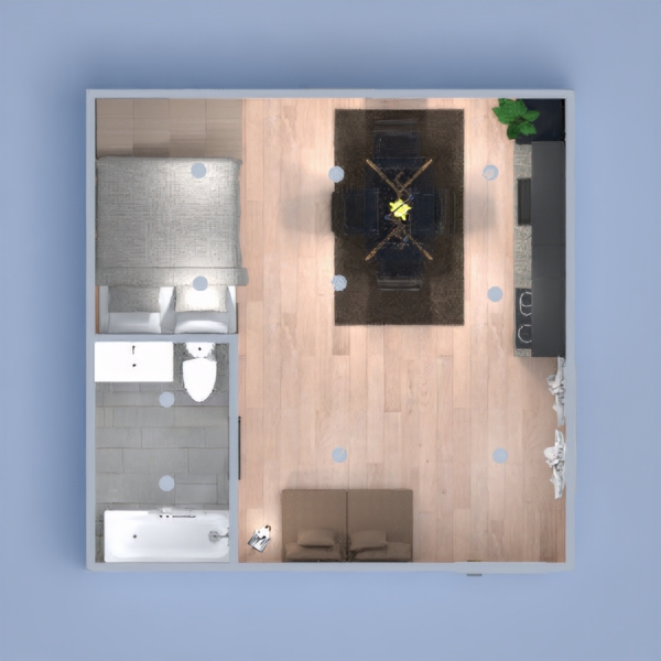 I created a studio with gallery, kitchen, living room, bathroom with bathtub, study and plenty of space to put things.