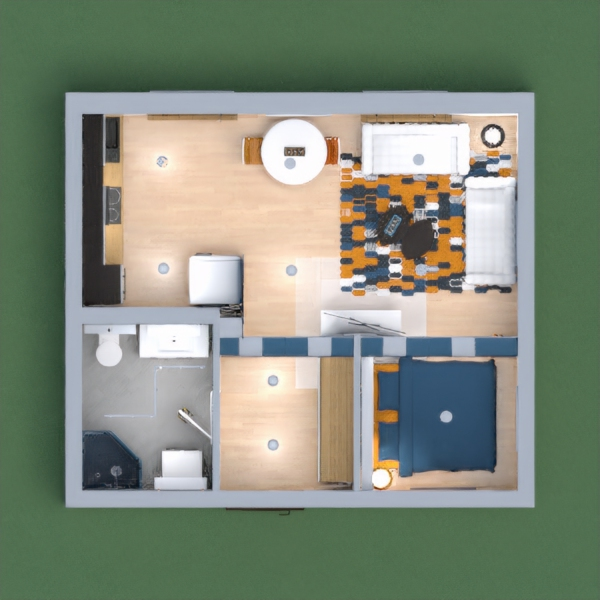 A small but well organized apartment, in blue and white with yellow accent.