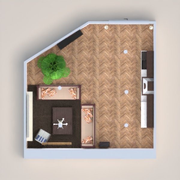 A modern but rustic living room with a small kitchen area in the rear. Enjoy :)
