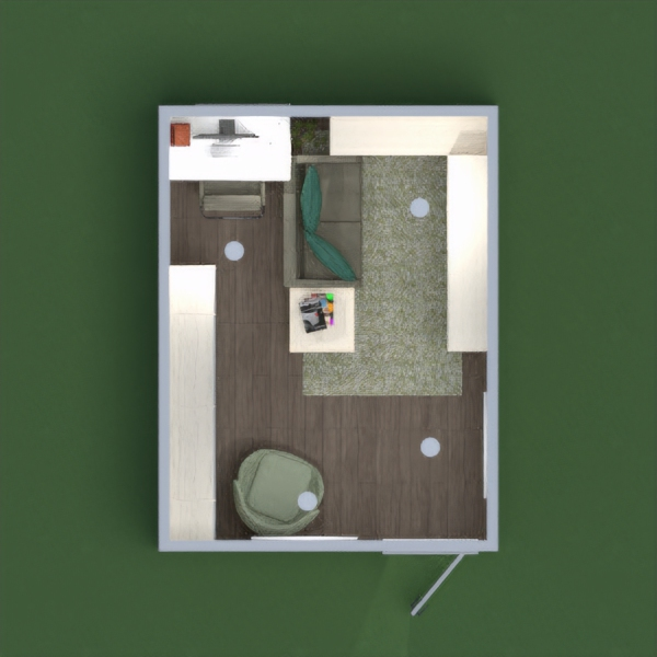 Office library for one person in green tones