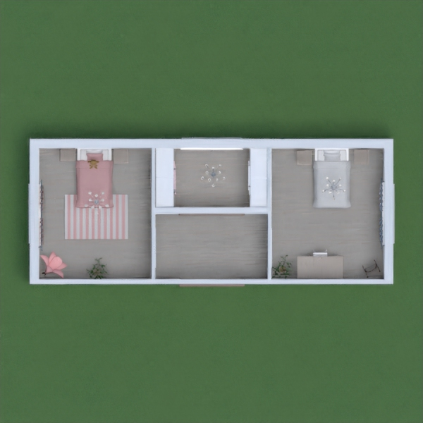 one of the two bedrooms is pink because it is for a younger girl and the other bedroom is for the older girl that likes more neutral colors for her room. The small middle room between the two bedrooms is a closet for both of them. hope you like!!