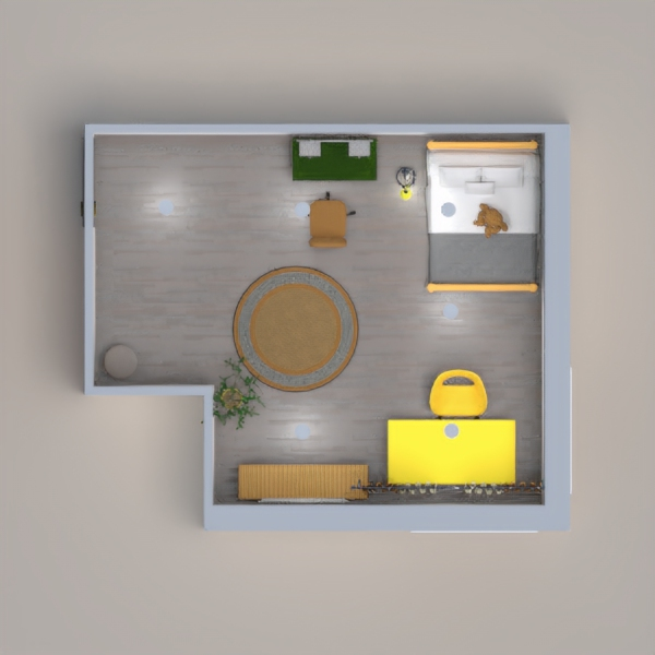 gray and yellow interior , bedroom