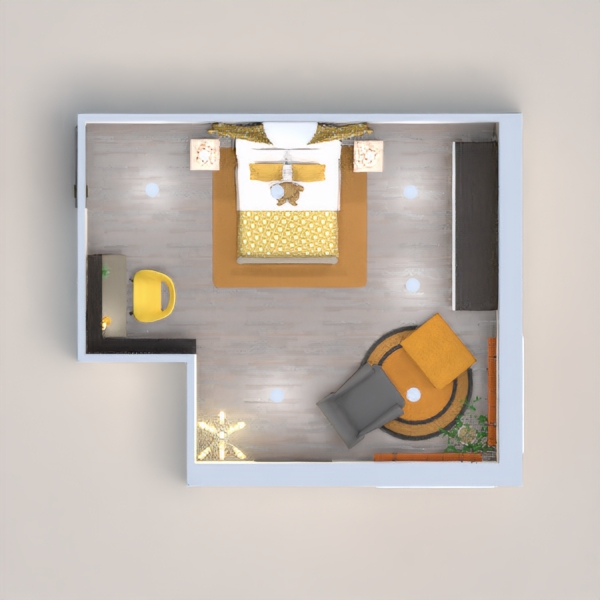 A cozy room with different accents of yellow and gray.