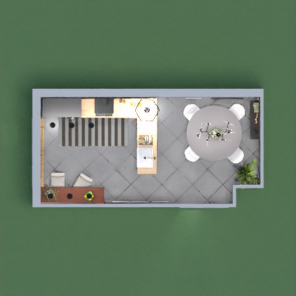 New Industrial Style: Dark Kitchen with dining area and breakfast corner
