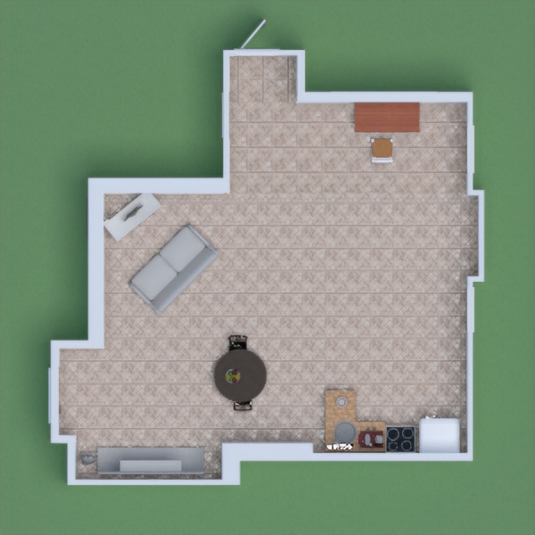 This house has a desk for studies etc. You have You have a kitchen with fridge, stove, oven, cabnitry, sink, and some flour and kitchen wares. Living area there is a tv stand, tv, and buatiful couch! I hope you like this single adult home!