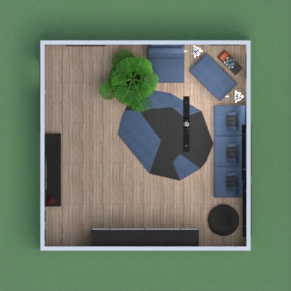 Dark Blue and Black Living Room