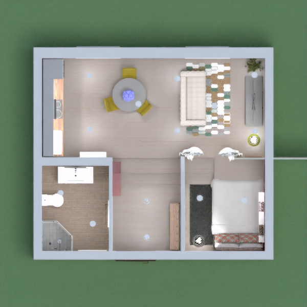 a modern apartment, with different levels and colour