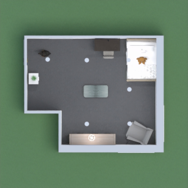 A small, one, story gray themed kid's room