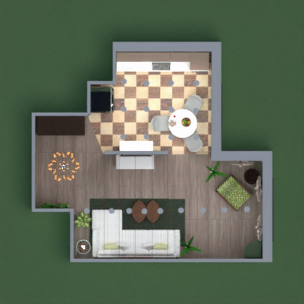 Warm light-green pastel shades design. The living area has lots of plants. Cozy nook to read a book or listen to music as you watch outside. The kitchen has a quirky floor and a small dining area. Overall there is storage space but spacious as well