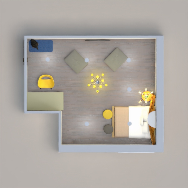 my project has : 4 ottoman 2 for setting and 2 for the bed, it has a bed a yellow certain above it, and a office chair and a desk, the office chair is yellow and the desk is gray, a yelow light, and a plant, a carpet above the carpet is a pet dog .