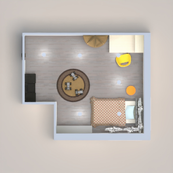 A cozy bedroom with places for studying and storage along with room to play. Meant to be functional as well as attractive.