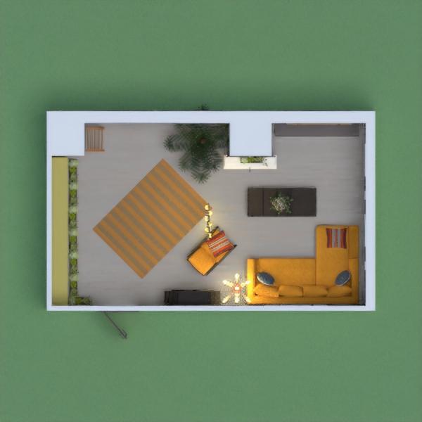 es una sala para una pequeña casa, un sofa amarillo junto una television muy linda y una chimenea con una planta, tiene cuadros para decorar, una estanteria muy bonita y una balda con libros, una alfombra amarilla , unas bonitas persianas y una escalera de decoracion. definitivamente esta sería mi sala perfecta.