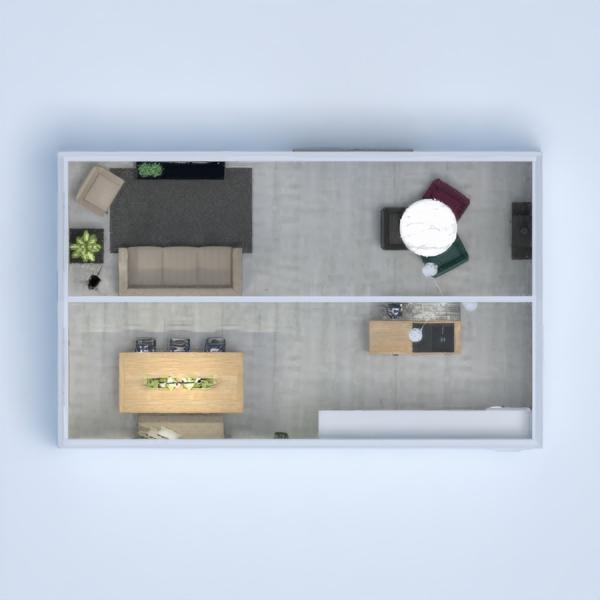 Aqui podemos encontrar una sala de estar integrada con comedor y cocina estilo